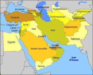 Carte géographique du Moyen-Orient et de l'Asie centrale (source : intercarto).
