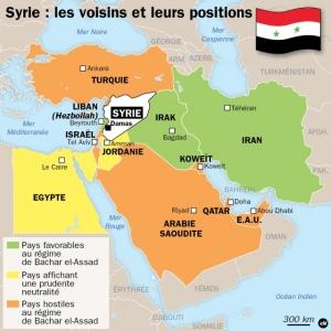 """Infographie de l'agence Idé représentant la position des pays de la région vis-à-vis de la Syrie. Comme on peut le constater, Israël y est classé parmi les """"pays hostiles à Damas"""", mais, contrairement à la Turquie, l'Arabie saoudite et le Qatar,  les discours officiels de l'État hébreu sont pour le moment teintés d'une neutralité prudente."""