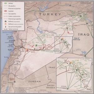 Carte des infrastructures gazières et pétrolières de la Syrie (2011).