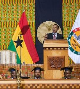 Barack Obama au parlement ghanéen à Accra, le 11 juillet 2009, où il prononça son fameux discours fondateur de sa politique africaine. Source: Chuck Kennedy/White House