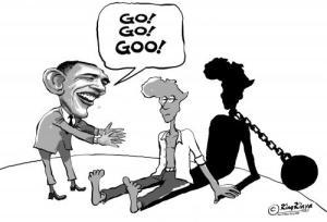 """Caricature représentant un Barack Obama idéaliste et plein d'entrain s'adressant à une Afrique assise, atone, en s'écriant """"Allez, Allez, Allez!"""". L'ombre portée révèle la présence d'un boulet attaché au cou de l'Afrique, symbolisant les entraves que l'Amérique feint de ne pas voir. Auteur : King Kenya"""