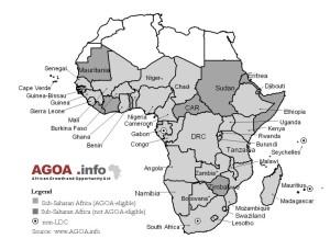 Carte de l'Afrique représentant en nuances de gris les 48 pays subsahariens auxquels la loi sur la croissance et les opportunités en Afrique/African Growth and Opportunity Act (Agoa) est destinée. Les pays éligibles à l'Agoa sont représentés en gris clair, et les pays non-éligibles en gris foncé. Source : www.agoa.info