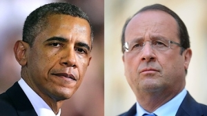 Barack Obama et François Hollande. Montage combinant les photos prises par Spencer Platt et Antoine Antonio pour Getty Images. (Source : bet.com).