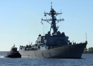 L'USS Gravely fait partie des 5 destroyers américains présents en méditerranée (le Mahan, le Ramage, le Barry et le Stout). Chaque destroyer emporte une quarantaine de missiles Tomahawk  (photo : US Navy/Wikimédia commons)