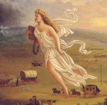 détail d'un tableau allégorique de John Gast, datant de 1872 qui représente l'expansion victorieuse de l'Amérique, incarnée par Columbia, laquelle étend la lumière de la civilisation vers l'Ouest sauvage.