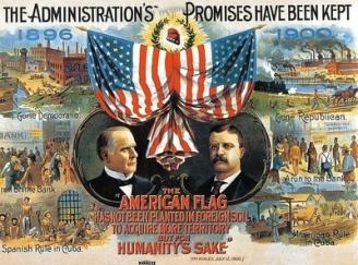 Célèbre affiche électorale de 1900 comparant entre autres, la situation désastreuse de Cuba sous domination espagnole en 1896 et de Cuba sous contrôle américain depuis la guerre hyspano-américaine de 1898, renouant avec la liberté et de la prospérité. (crédit : Wikimedia Commons).