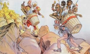 """Dessin illustrant le """"fardeau de l'homme blanc"""" (White man's burden), d'après le titre du poème de Rudyard Kipling qui encourage l'entreprise coloniale américaine dans les Philippines. L""""Amérique, à l'instar de l'Europe, est invité à endosser ses responsabilités, à porter sa """"croix"""" en conduisant les peuples vers la civilisation."""