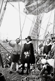 Image représentant John Winthrop aux cotés de l'équipage de l'Arabella. Source : simsonian.com /Bettmann / Corbis)