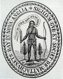 """La première version (de 1629) du sceau de la colonie de la baie du Massachusetts, reflétait les intentions - pas que commerciales mais aussi missionnaires - des colons. Un rouleau sortant de la bouche de l'indien representé sur le sceau lui fait dire (à l'endroit des chrétiens anglais) : """"Come over and help us"""" (""""Venez et aidez-nous""""). L'analogie biblique est évidente et renvoie à """"Actes 16 :9"""" : """"Pendant la nuit, (l'apôtre) Paul eut une vision: un Macédonien lui apparut, et lui fit cette prière: Passe en Macédoine, secours-nous !"""""""