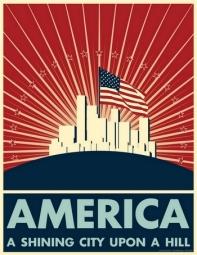 """Dans son discours d'adieu diffusé à la télévision le 11 janvier 1989, le président Ronald Reagan reprit la """"City upon a Hill"""", pour décrire l'Amérique qu'il avait toujours imaginée. Une """"Cité rayonnante"""" (shining City) - l'adjectif """"shining"""" fut rajouté par ses soins -, construite sur des rochers plus forts que les océans, balayée par le vent, bénie de Dieu, grouillant de gens de toutes sortes vivant dans l'harmonie et la paix (...)"""