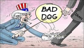 """Caricature qui illustre la thèse défendue par le camp pro-iranien selon laquelle l'Amérique était informée des projets de l'EIIL et l'aurait laissé faire voire soutenu, à travers ses alliés saoudiens, turcs, qataris et kurdes irakiens. pouvait avoir été surprise par la montée en puissance de l'EIIL, au regard de l'importance des moyens que la prise de Mossoul. L'EIIL serait un """"plan B"""" par lequel Washington espère tirer des dividendes politiques et les exploiter contre l'Iran et ses alliés."""