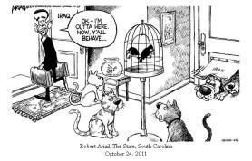 """Ce dessin résume la situation irakienne en suspens telle que B. Obama la laissa en 2011 : une maison remplie de rivalités et de convoitises. En sortant, le président s'écrie à l'adresse des occupants des lieux (chats, chiens, oiseaux et poissons) : """"J'me tire, comportez-vous bien"""". Sous la trappe, des chiens (symbolisant l'Iran) attendent le moment propice pour entrer."""