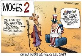 """Une des nombreuses caricatures où B. Obama est représenté en un nouveau Moïse, totalement indécis, ne sachant pas quelle direction prendre. L'oncle Sam, excédé pense """"Voici venue la partie des 40 ans d'errance dans le désert"""". Une situation qui n'est pas évoquer la gestion de la crise égyptienne où Obama II semblait incapable de se positionner clairement par rapport au coup d'État des militaires et à la manière de traiter avec le pouvoir intérimaire du général putschiste Al-Sissi (auteur : Jerry Holbert pour le Boston Herald)."""