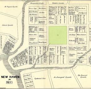 Cette carte de la colonie de New Haven montre jusqu'où pouvait mener la fantasmagorie des puritains, leur interprétation littérale de la Bible et leur forte identification à la Jérusalem biblique. Son fondateur, le pasteur John Davenport (1597-1670) voulut bâtir cette colonie en se basant sur la vision du prophète Ézéchiel et sa description du troisième Temple de Jérusalem. Ainsi New Haven, fondée en 1638, fut construite en forme de carré parfait formé de neuf carrés séparés, comme on peut le voir sur la carte. (Image extraite de l'ouvrage History of the Colony of New Haven to its absorption into Connecticut, par Edward Elias ATWATER, 1881, p.10.)