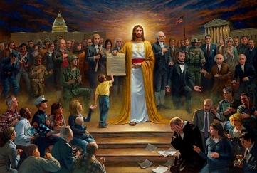 Jon McNaughton, One nation under God. Ce tableau très patriotique, considéré comme son chef-d'oeuvre, le peintre Jon McNaughton, appartenant au Tea Party (il est présenté comme le