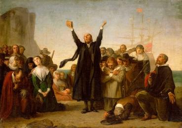 Antonio Gisbert, The arrival of the Pilgrim Fathers, 1864.