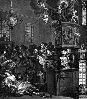 William Hogarth, Crédulité, superstition et fanatisme (Credulity, Superstition and fanaticism), 1762. Cette gravure satirique célèbre de W. Hogarth tournait en dérision le méthodisme et ses fidèles. Le méthodisme était un courant dérivé de l'église anglicane, apparu au cours du premier Grand réveil religieux (milieu du XVIIIe siècle). Ce revivalisme fut l'acte fondateur de l'évangélisme américain. Théologiquement, le méthodisme initié par le pasteur John Wesley se démarquait du calvinisme des puritains à travers la prévalence du libre arbitre et la grâce prévenante de Dieu, par opposition au déterminisme de la prédestination absolue. Dans cette gravure, Wesley est représenté perché en haut d'une chaire, agitant un diable dans une main et une sorcière dans l'autre devant un public en émoi.