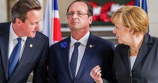 le PM britannique David Cameron, le président français François hollande et la chancelière allemande Angela MerkellAP Photo Geert Vanden Wijngaert